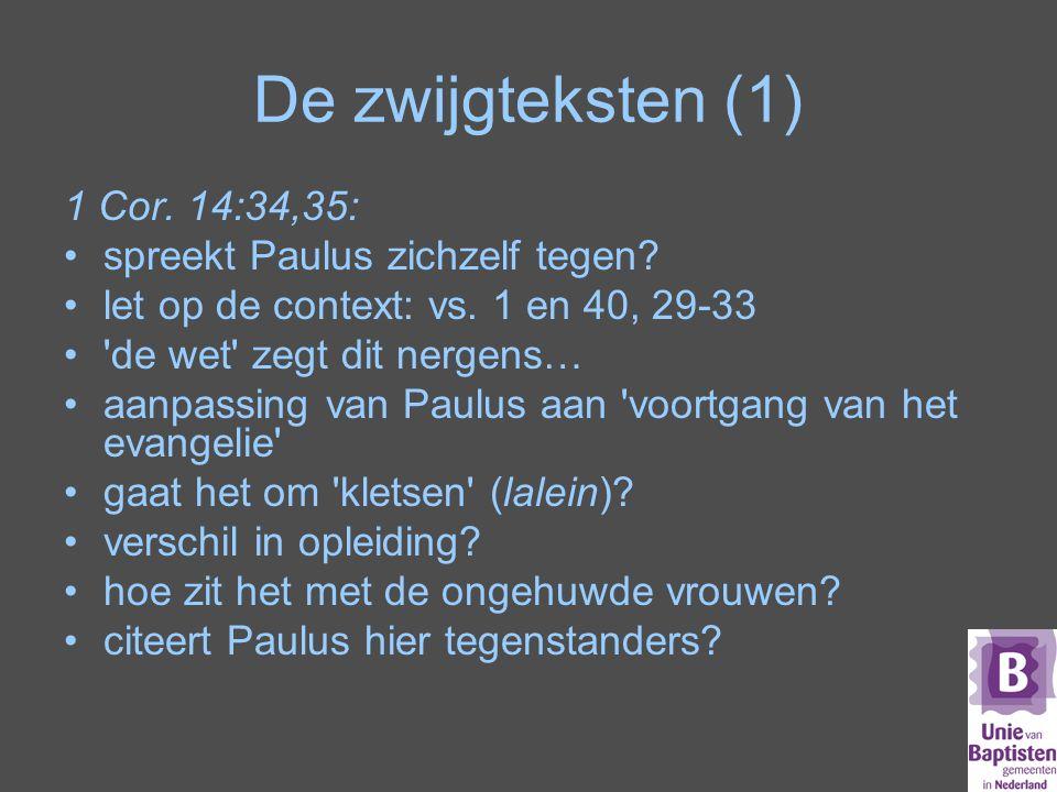 De zwijgteksten (1) 1 Cor.14:34,35: spreekt Paulus zichzelf tegen.