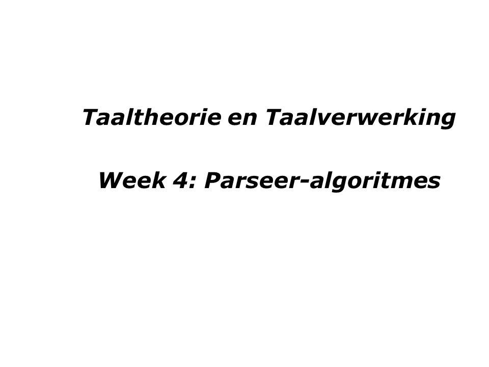 Taaltheorie en Taalverwerking Week 4: Parseer-algoritmes