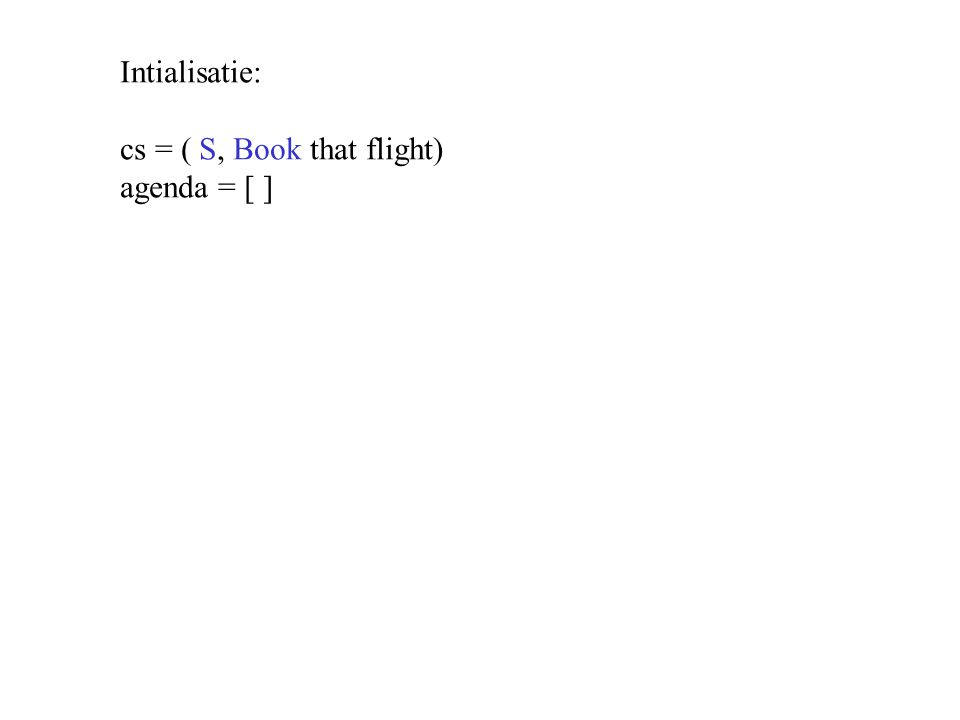 Intialisatie: cs = ( S, Book that flight) agenda = [ ]