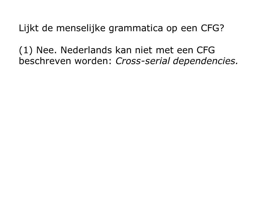 (1) Nee. Nederlands kan niet met een CFG beschreven worden: Cross-serial dependencies.