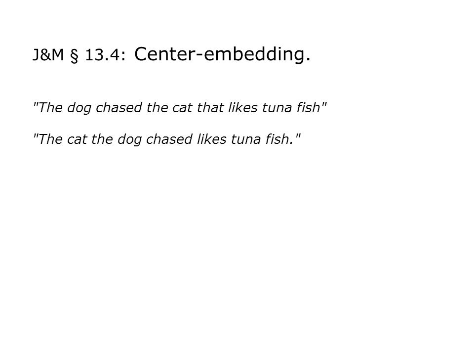 J&M § 13.4: Center-embedding.
