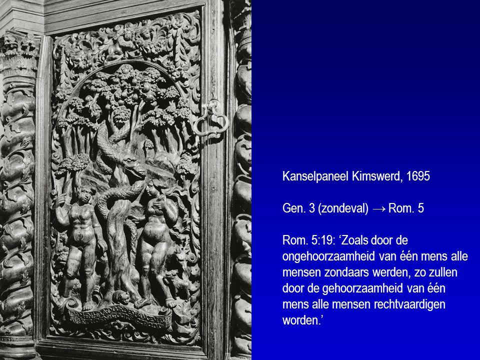 Kanselpaneel Kimswerd, 1695 Gen.3 (zondeval) → Rom.