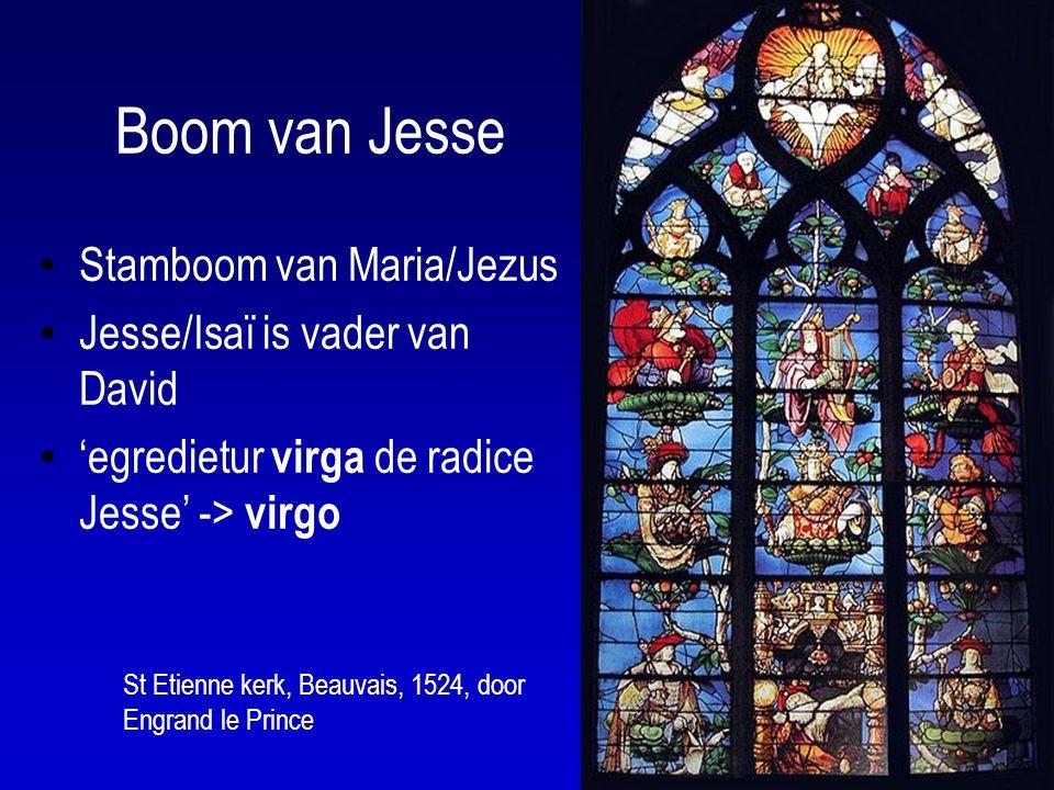 Boom van Jesse Stamboom van Maria/Jezus Jesse/Isaï is vader van David 'egredietur virga de radice Jesse' -> virgo St Etienne kerk, Beauvais, 1524, door Engrand le Prince