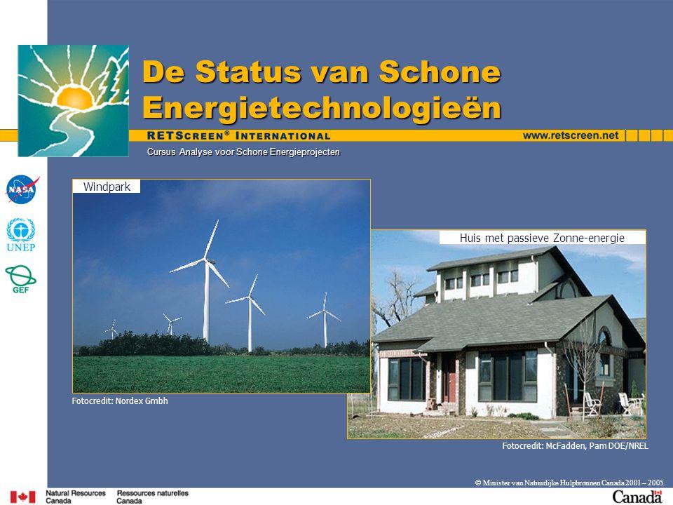 © Minister van Natuurlijke Hulpbronnen Canada 2001 – 2005. Cursus Analyse voor Schone Energieprojecten De Status van Schone Energietechnologieën Huis