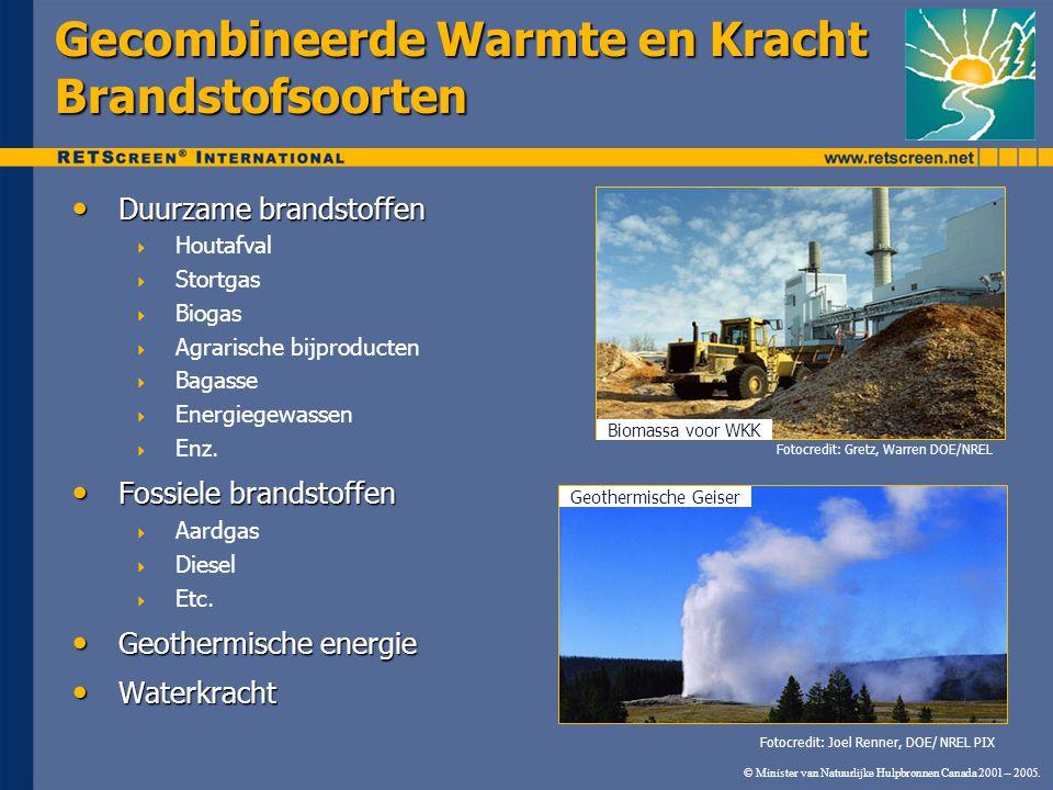 © Minister van Natuurlijke Hulpbronnen Canada 2001 – 2005. Gecombineerde Warmte en Kracht Brandstofsoorten Duurzame brandstoffen Duurzame brandstoffen
