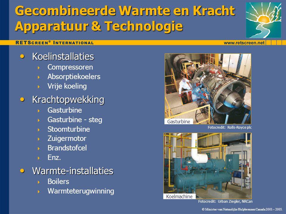 © Minister van Natuurlijke Hulpbronnen Canada 2001 – 2005. Gecombineerde Warmte en Kracht Apparatuur & Technologie Koelinstallaties Koelinstallaties 