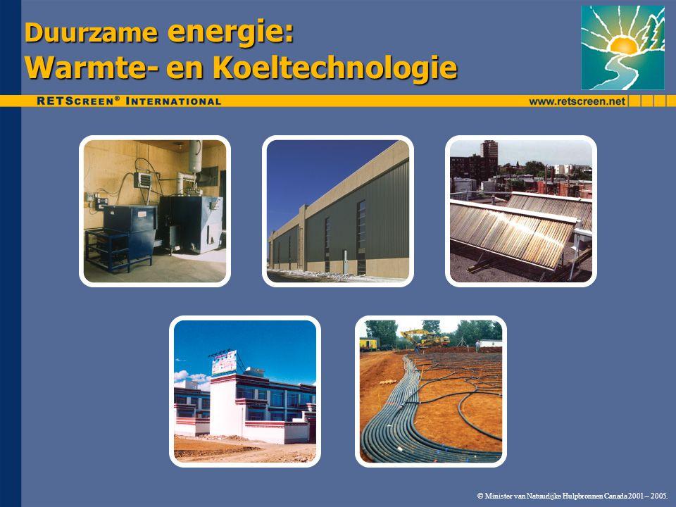 © Minister van Natuurlijke Hulpbronnen Canada 2001 – 2005. Duurzame energie: Warmte- en Koeltechnologie