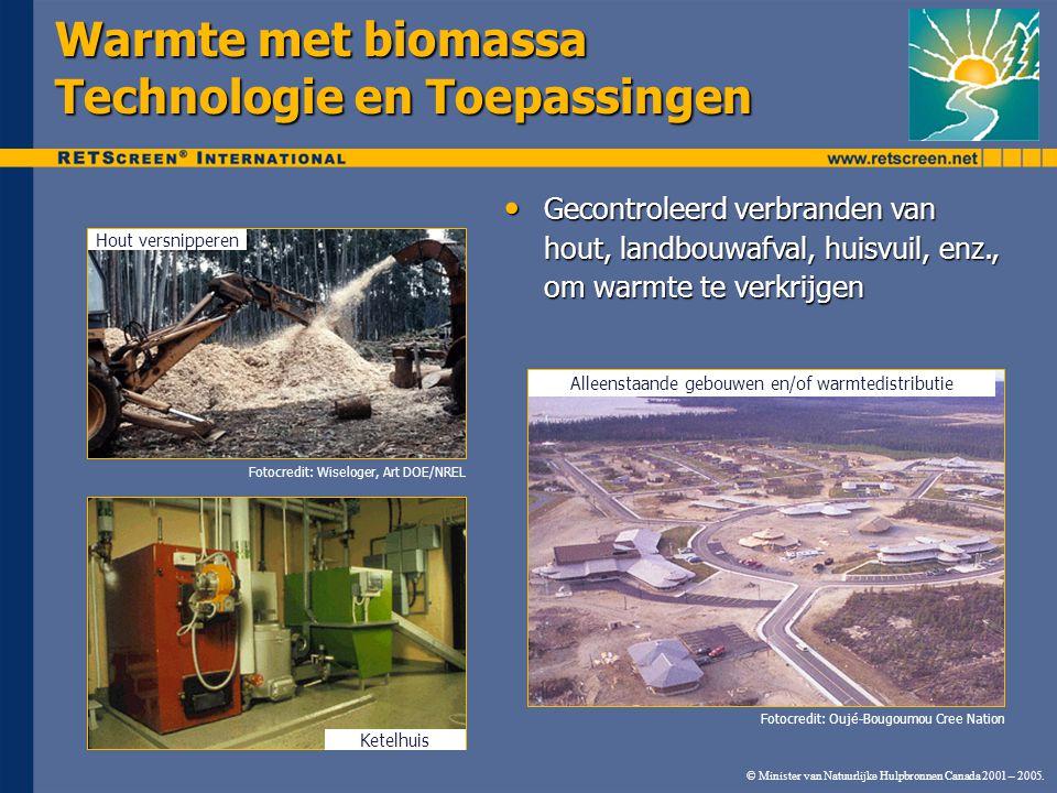 © Minister van Natuurlijke Hulpbronnen Canada 2001 – 2005. Warmte met biomassa Technologie en Toepassingen Hout versnipperen Ketelhuis Alleenstaande g