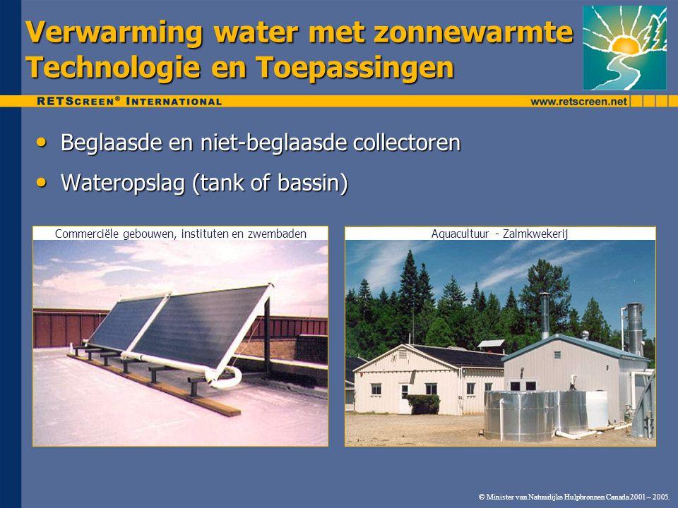 © Minister van Natuurlijke Hulpbronnen Canada 2001 – 2005. Verwarming water met zonnewarmte Technologie en Toepassingen Beglaasde en niet-beglaasde co