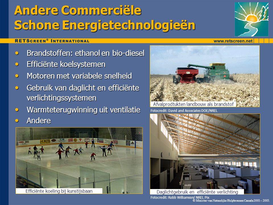 © Minister van Natuurlijke Hulpbronnen Canada 2001 – 2005. Andere Commerciële Schone Energietechnologieën Brandstoffen: ethanol en bio-diesel Brandsto