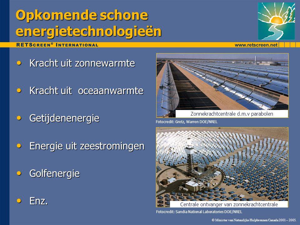 © Minister van Natuurlijke Hulpbronnen Canada 2001 – 2005. Opkomende schone energietechnologieën Kracht uit zonnewarmte Kracht uit zonnewarmte Kracht