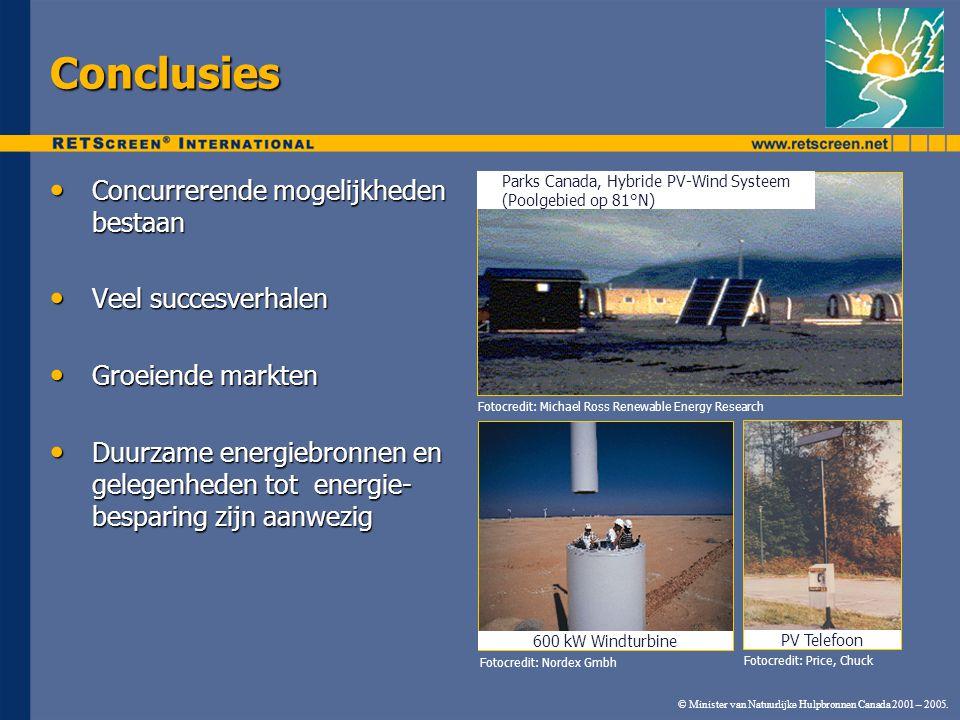 © Minister van Natuurlijke Hulpbronnen Canada 2001 – 2005. Concurrerende mogelijkheden bestaan Concurrerende mogelijkheden bestaan Veel succesverhalen