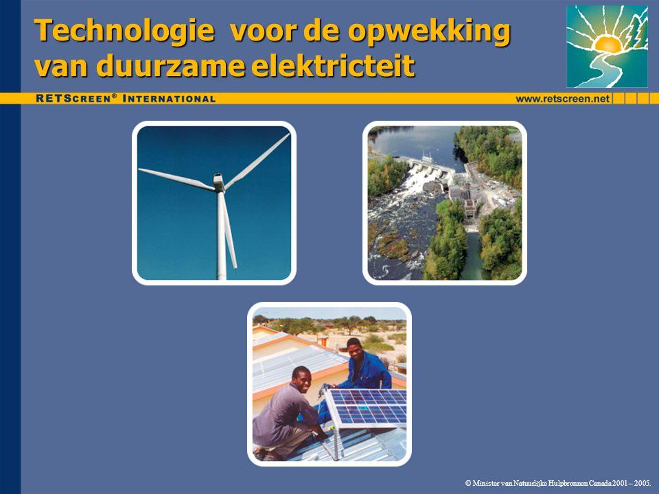 © Minister van Natuurlijke Hulpbronnen Canada 2001 – 2005. Technologie voor de opwekking van duurzame elektricteit