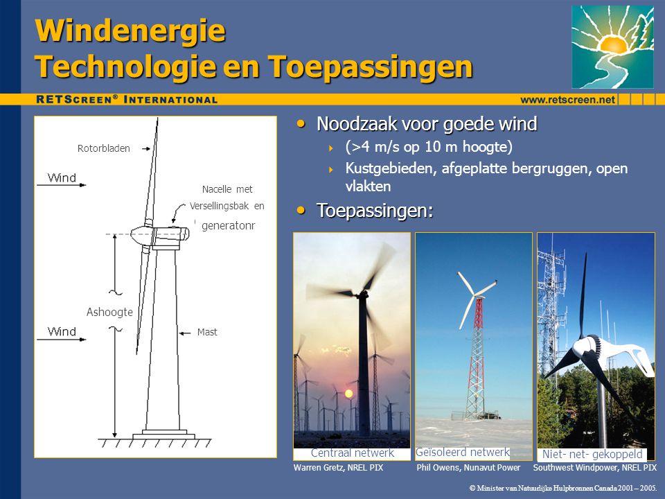 © Minister van Natuurlijke Hulpbronnen Canada 2001 – 2005. Windenergie Technologie en Toepassingen Noodzaak voor goede wind Noodzaak voor goede wind 