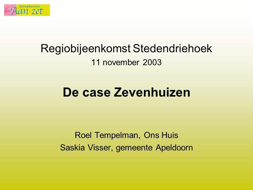 Regiobijeenkomst Stedendriehoek 11 november 2003 De case Zevenhuizen Roel Tempelman, Ons Huis Saskia Visser, gemeente Apeldoorn