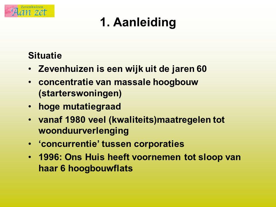 1. Aanleiding Situatie Zevenhuizen is een wijk uit de jaren 60 concentratie van massale hoogbouw (starterswoningen) hoge mutatiegraad vanaf 1980 veel