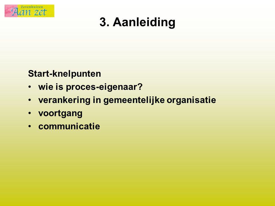 3. Aanleiding Start-knelpunten wie is proces-eigenaar? verankering in gemeentelijke organisatie voortgang communicatie