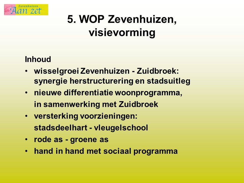 5. WOP Zevenhuizen, visievorming Inhoud wisselgroei Zevenhuizen - Zuidbroek: synergie herstructurering en stadsuitleg nieuwe differentiatie woonprogra