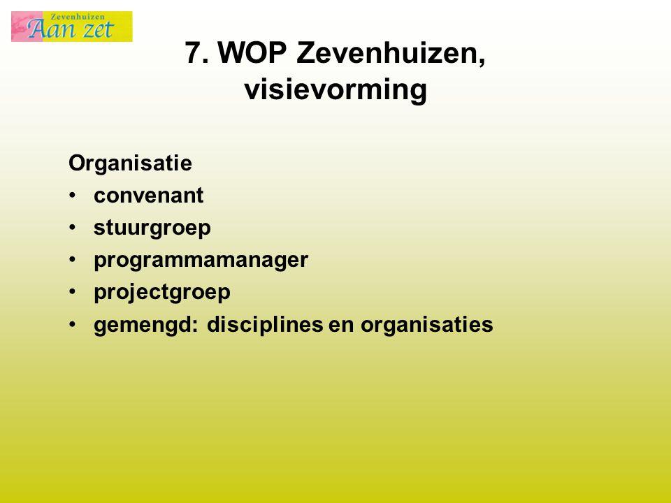 7. WOP Zevenhuizen, visievorming Organisatie convenant stuurgroep programmamanager projectgroep gemengd: disciplines en organisaties