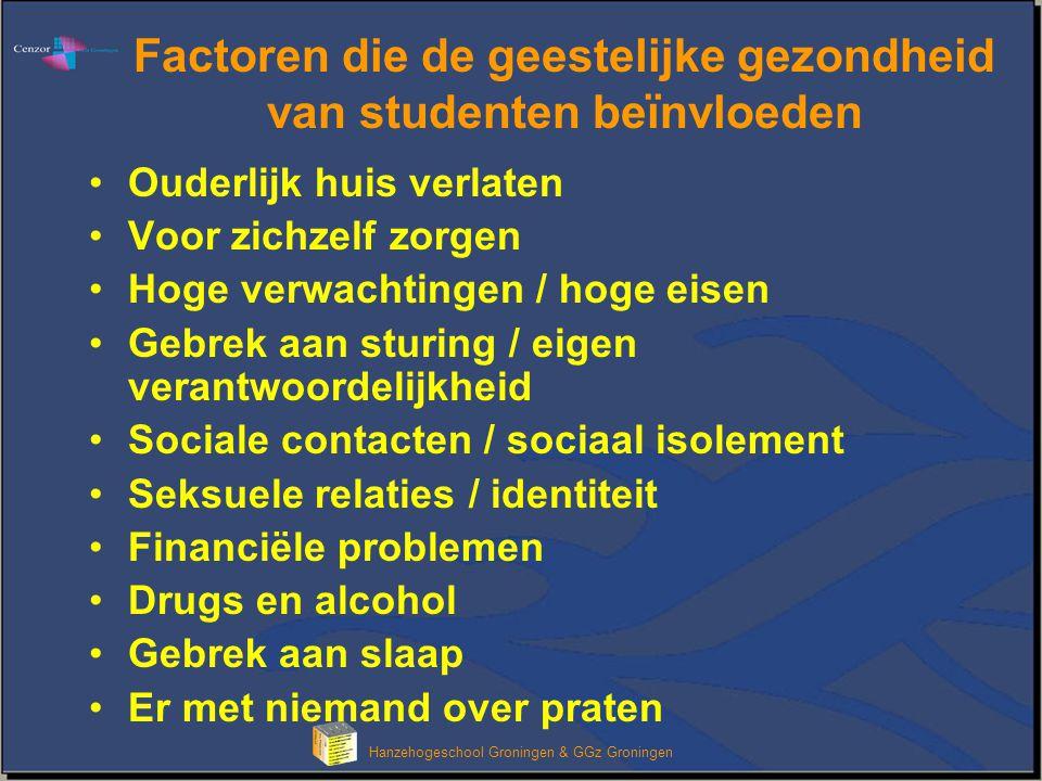 Hanzehogeschool Groningen & GGz Groningen Factoren die de geestelijke gezondheid van studenten beïnvloeden Ouderlijk huis verlaten Voor zichzelf zorge