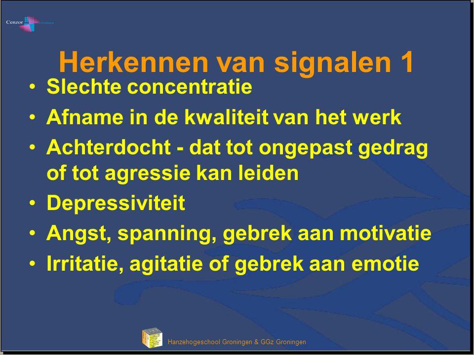Hanzehogeschool Groningen & GGz Groningen Herkennen van signalen 1 Slechte concentratie Afname in de kwaliteit van het werk Achterdocht - dat tot onge