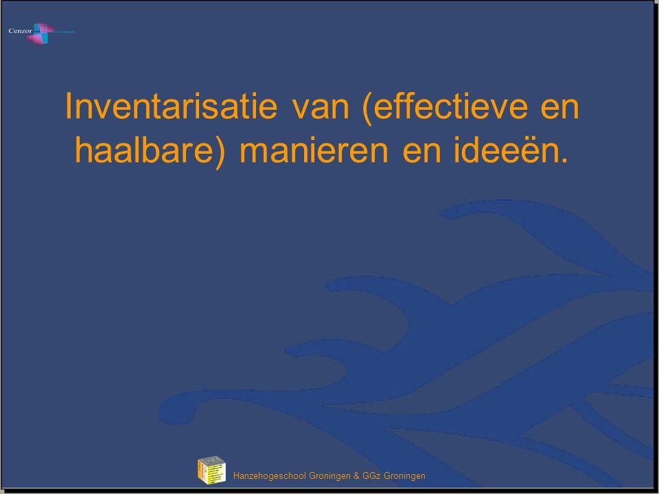 Hanzehogeschool Groningen & GGz Groningen Inventarisatie van (effectieve en haalbare) manieren en ideeën.
