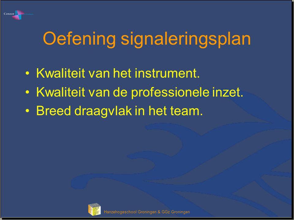 Hanzehogeschool Groningen & GGz Groningen Oefening signaleringsplan Kwaliteit van het instrument. Kwaliteit van de professionele inzet. Breed draagvla