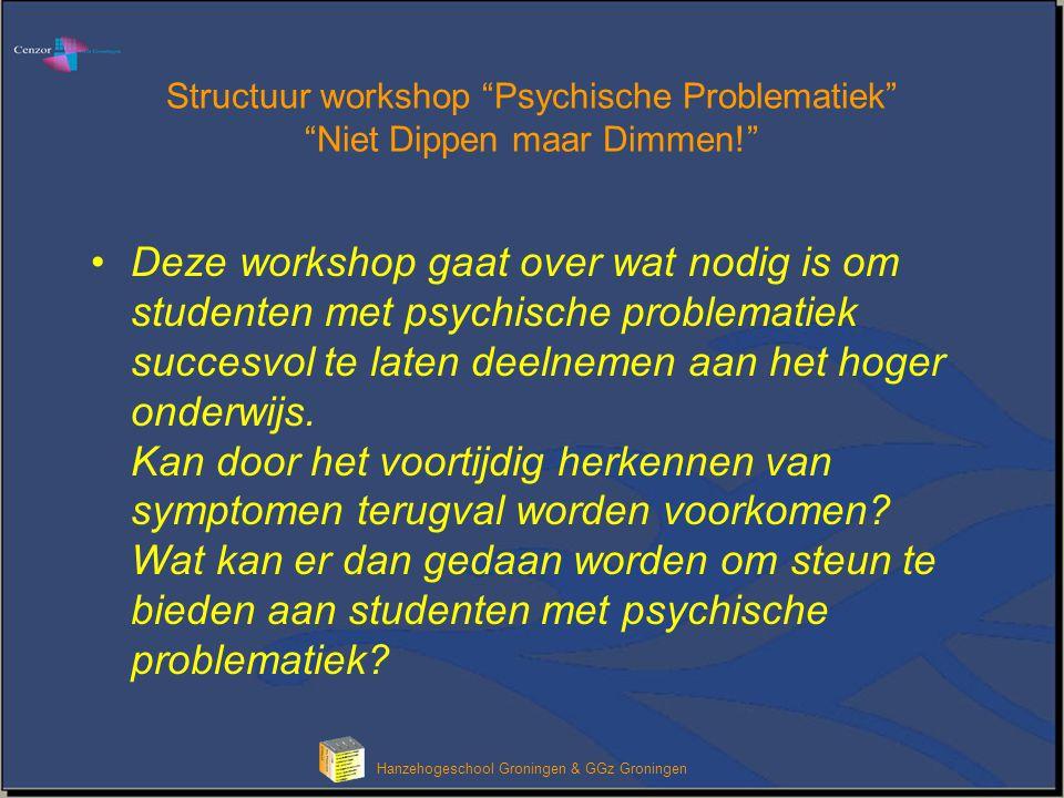"""Hanzehogeschool Groningen & GGz Groningen Structuur workshop """"Psychische Problematiek"""" """"Niet Dippen maar Dimmen!"""" Deze workshop gaat over wat nodig is"""