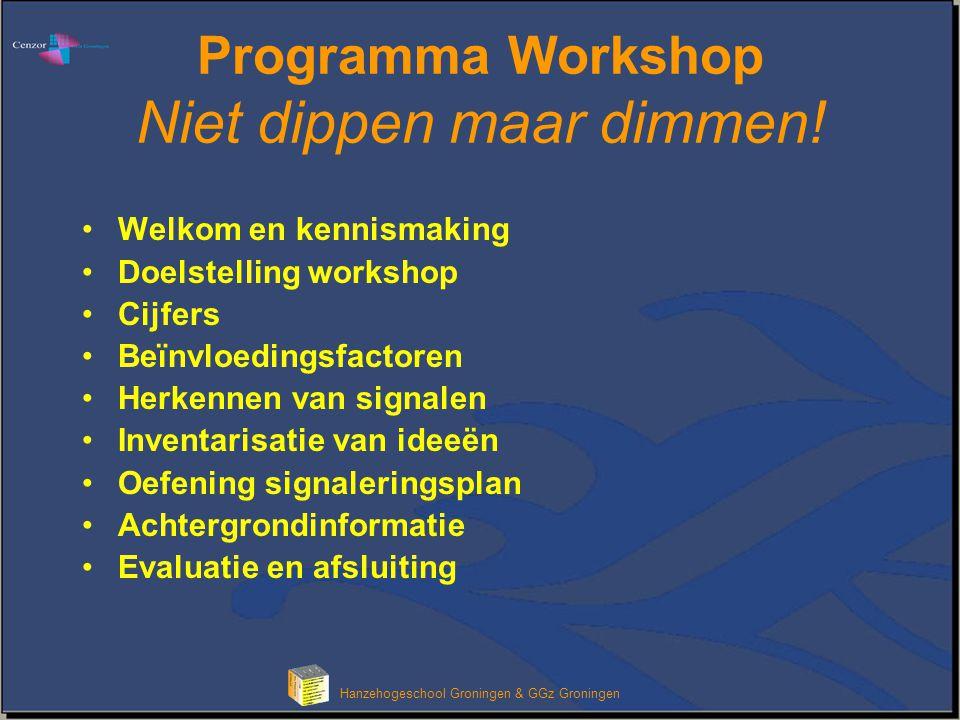Hanzehogeschool Groningen & GGz Groningen Programma Workshop Niet dippen maar dimmen! Welkom en kennismaking Doelstelling workshop Cijfers Beïnvloedin