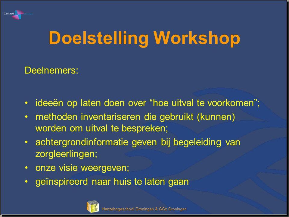 """Hanzehogeschool Groningen & GGz Groningen Doelstelling Workshop Deelnemers: ideeën op laten doen over """"hoe uitval te voorkomen""""; methoden inventariser"""