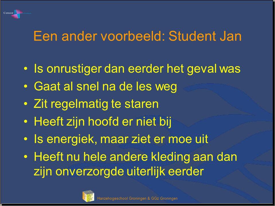 Hanzehogeschool Groningen & GGz Groningen Een ander voorbeeld: Student Jan Is onrustiger dan eerder het geval was Gaat al snel na de les weg Zit regel