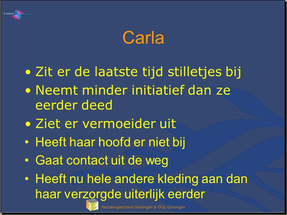 Hanzehogeschool Groningen & GGz Groningen Carla Zit er de laatste tijd stilletjes bij Neemt minder initiatief dan ze eerder deed Ziet er vermoeider ui