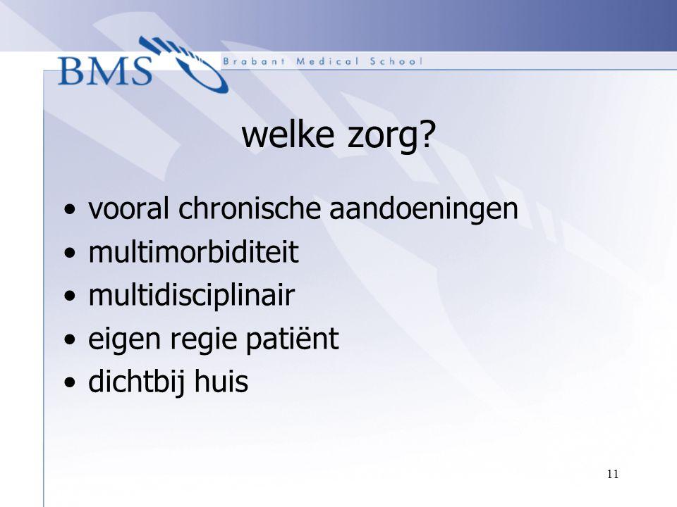 11 welke zorg? vooral chronische aandoeningen multimorbiditeit multidisciplinair eigen regie patiënt dichtbij huis