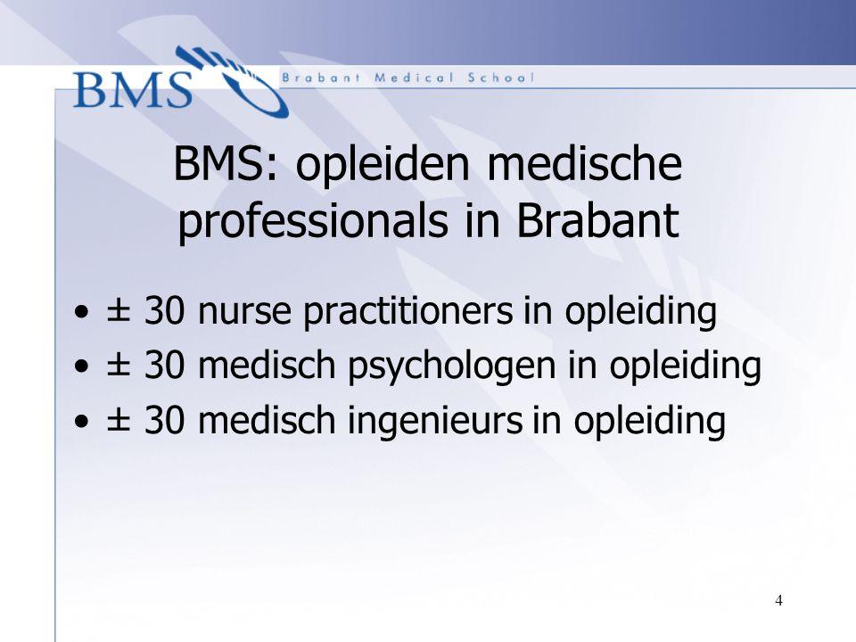 4 BMS: opleiden medische professionals in Brabant ± 30 nurse practitioners in opleiding ± 30 medisch psychologen in opleiding ± 30 medisch ingenieurs