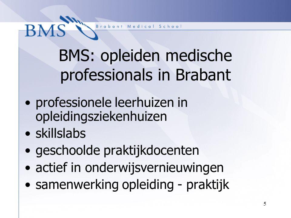 5 BMS: opleiden medische professionals in Brabant professionele leerhuizen in opleidingsziekenhuizen skillslabs geschoolde praktijkdocenten actief in
