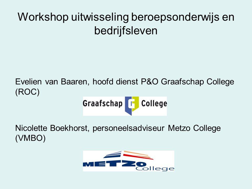 Workshop uitwisseling beroepsonderwijs en bedrijfsleven Evelien van Baaren, hoofd dienst P&O Graafschap College (ROC) Nicolette Boekhorst, personeelsa