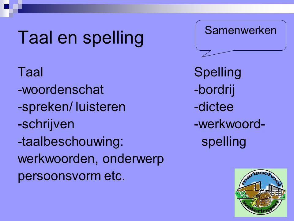 Taal en spelling Taal Spelling -woordenschat-bordrij -spreken/ luisteren-dictee -schrijven-werkwoord- -taalbeschouwing: spelling werkwoorden, onderwer