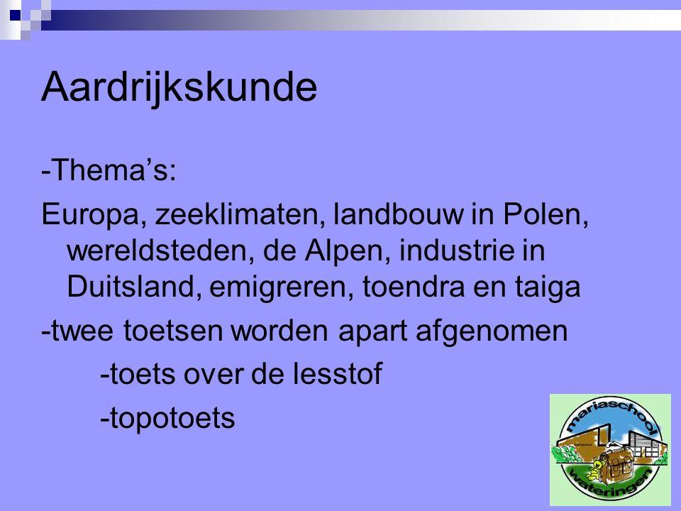 Aardrijkskunde -Thema's: Europa, zeeklimaten, landbouw in Polen, wereldsteden, de Alpen, industrie in Duitsland, emigreren, toendra en taiga -twee toe