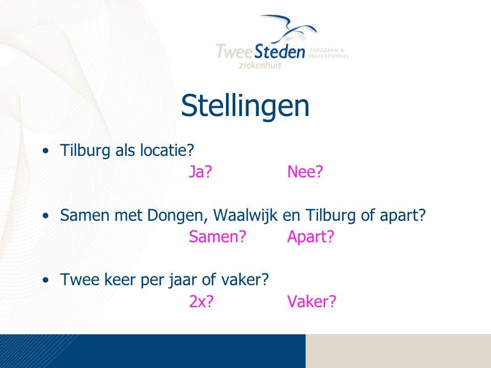 Stellingen Tilburg als locatie.Ja?Nee. Samen met Dongen, Waalwijk en Tilburg of apart.