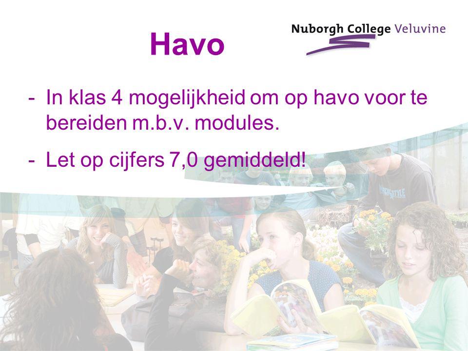 Havo -In klas 4 mogelijkheid om op havo voor te bereiden m.b.v. modules. -Let op cijfers 7,0 gemiddeld!