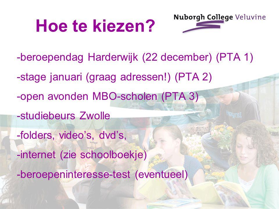 Hoe te kiezen? -beroependag Harderwijk (22 december) (PTA 1) -stage januari (graag adressen!) (PTA 2) -open avonden MBO-scholen (PTA 3) -studiebeurs Z