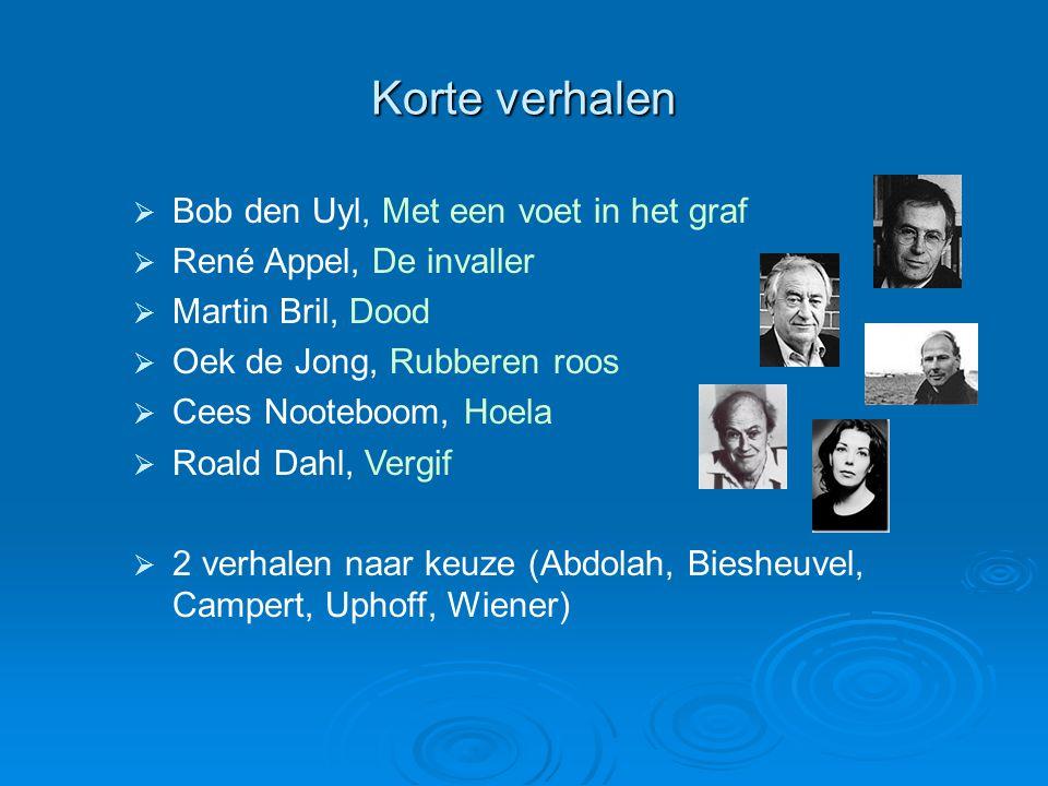 Korte verhalen  Bob den Uyl, Met een voet in het graf  René Appel, De invaller  Martin Bril, Dood  Oek de Jong, Rubberen roos  Cees Nooteboom, Ho