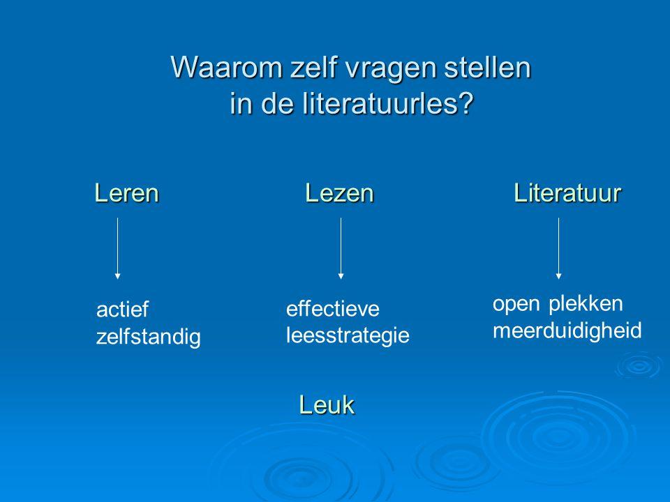 Waarom zelf vragen stellen in de literatuurles? Waarom zelf vragen stellen in de literatuurles? Leren Lezen Literatuur actief zelfstandig effectieve l