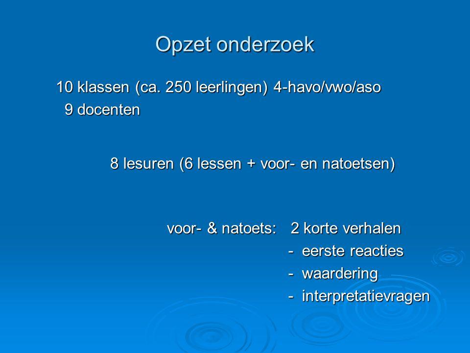 Opzet onderzoek 10 klassen (ca. 250 leerlingen) 4-havo/vwo/aso 9 docenten 9 docenten 8 lesuren (6 lessen + voor- en natoetsen) voor- & natoets: 2 kort
