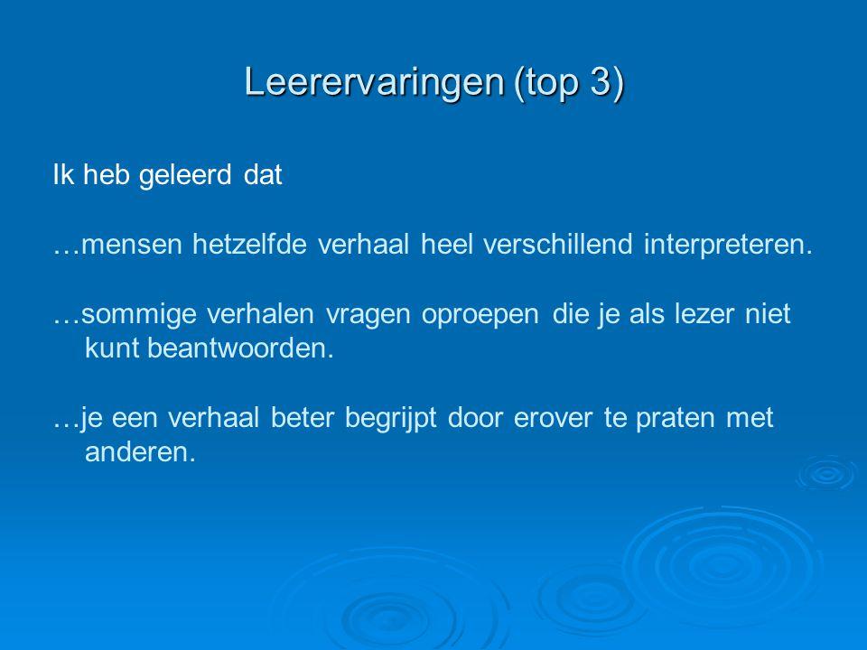 Leerervaringen (top 3) Ik heb geleerd dat …mensen hetzelfde verhaal heel verschillend interpreteren. …sommige verhalen vragen oproepen die je als leze