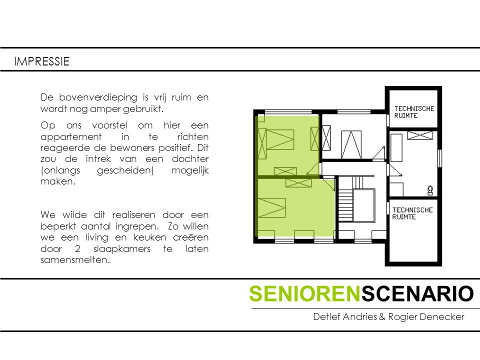 SENIORENSCENARIO Detlef Andries & Rogier Denecker IMPRESSIE De bovenverdieping is vrij ruim en wordt nog amper gebruikt.