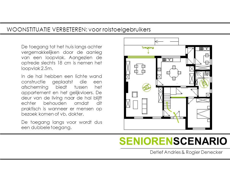 SENIORENSCENARIO Detlef Andries & Rogier Denecker WOONSTITUATIE VERBETEREN: voor rolstoelgebruikers De toegang tot het huis langs achter vergemakkelijken door de aanleg van een loopvlak.