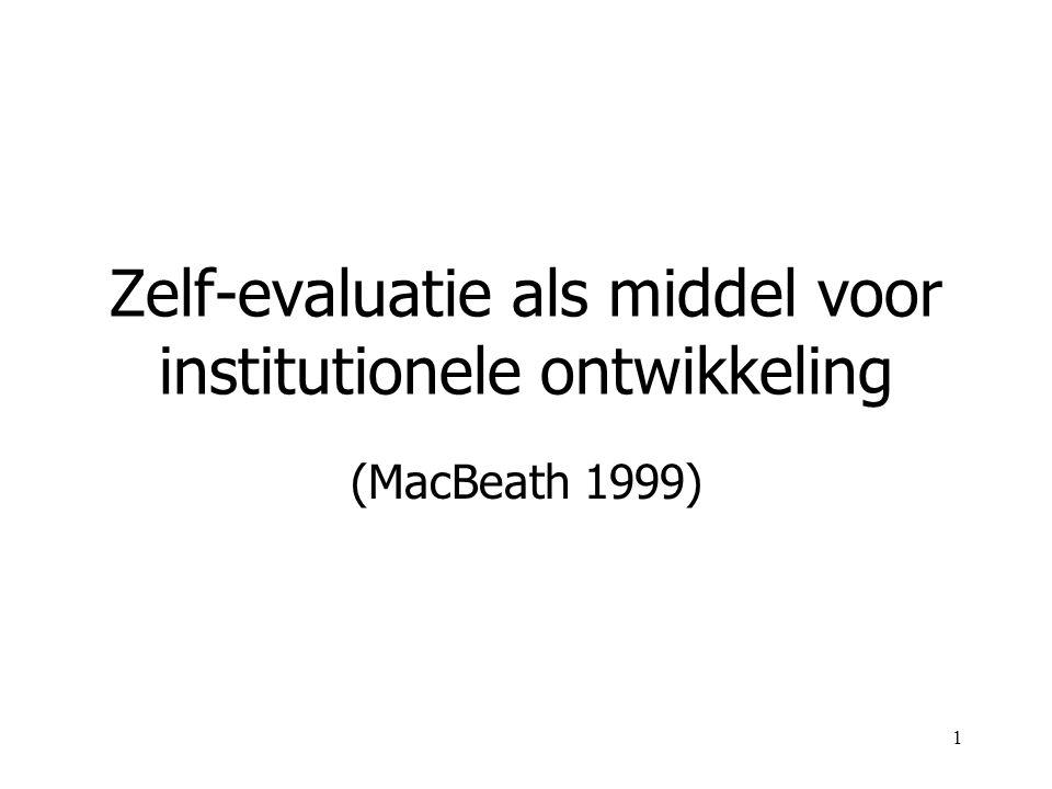 1 Zelf-evaluatie als middel voor institutionele ontwikkeling (MacBeath 1999)