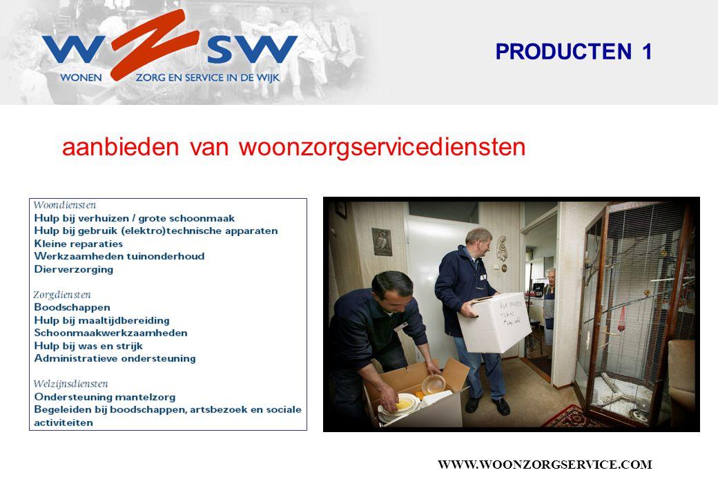 WWW.WOONZORGSERVICE.COM aanbieden van woonzorgservicediensten PRODUCTEN 1