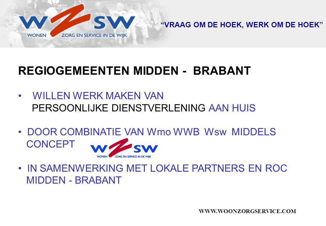 WWW.WOONZORGSERVICE.COM VRAAG OM DE HOEK, WERK OM DE HOEK REGIOGEMEENTEN MIDDEN - BRABANT WILLEN WERK MAKEN VAN PERSOONLIJKE DIENSTVERLENING AAN HUIS DOOR COMBINATIE VAN Wmo WWB Wsw MIDDELS CONCEPT IN SAMENWERKING MET LOKALE PARTNERS EN ROC MIDDEN - BRABANT